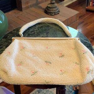 Antique 1950's Laura USA Pearl  Beaded Med.Handbag
